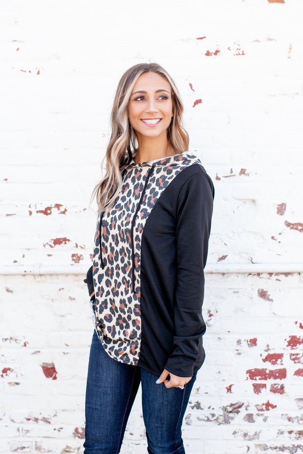 The Paige Hooded Top (Taupe/Black Leopard)