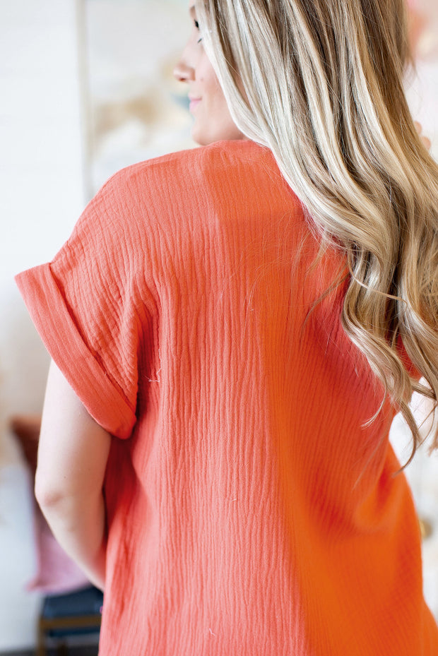 Press Pause Top (Coral)