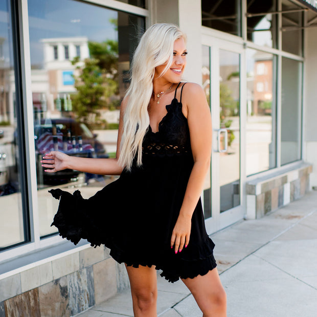 Full of Sass Crochet Ruffle Dress (Black)