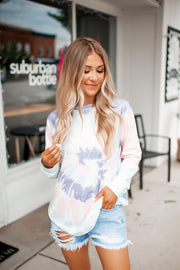 Margarita Swirl Top (Blue/Pink/Mint Tie Dye)