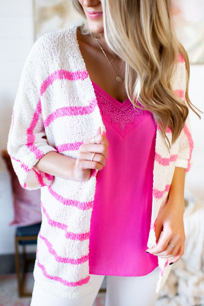 Striped Kimono Cardigan (Pink) FINAL SALE