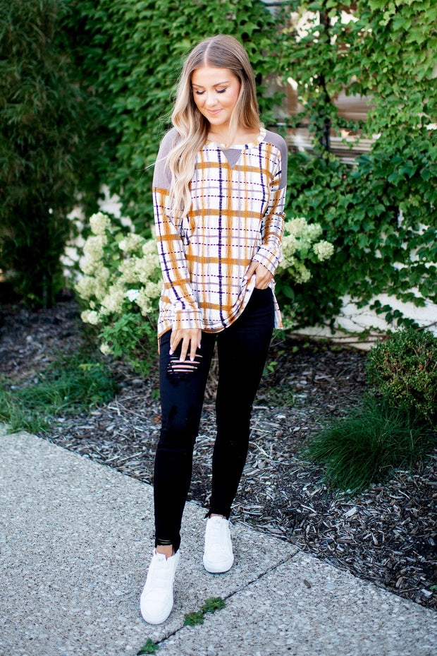 The Polly Plaid Tunic (Mustard)