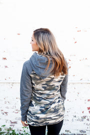 Creepin' In Camo Double Hoodie (Charcoal)