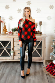 Check The Halls Plaid Top (Red) FINAL SALE
