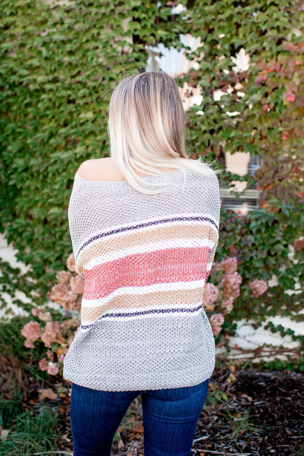 Golden Hour Striped Sweater (Rust)(Final Sale)
