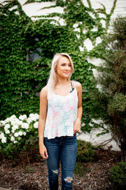 Palms Up Peplum Tank (White)