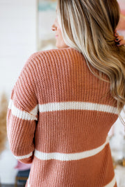 Love To Layer Striped Cardigan (Terracotta) FINAL SALE