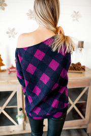 Check The Halls Plaid Top (Magenta) FINAL SALE