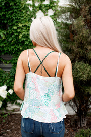 Palms Up Peplum Tank (White) FINAL SALE
