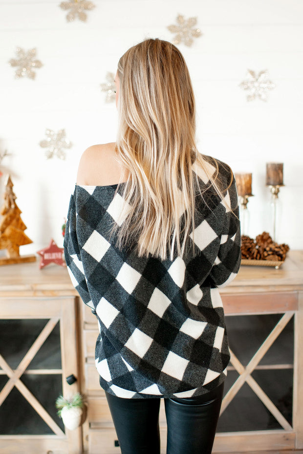 Check The Halls Plaid Top (Black) FINAL SALE