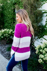 Striped Eyelash Sweater (Fuchsia)