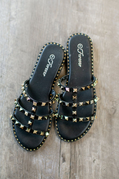 Vivi Studded Sandals (Black)