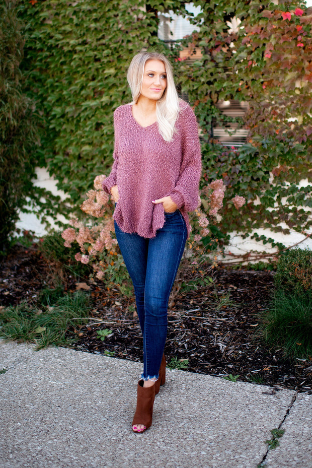 The Stasia Knit Sweater (Plum)