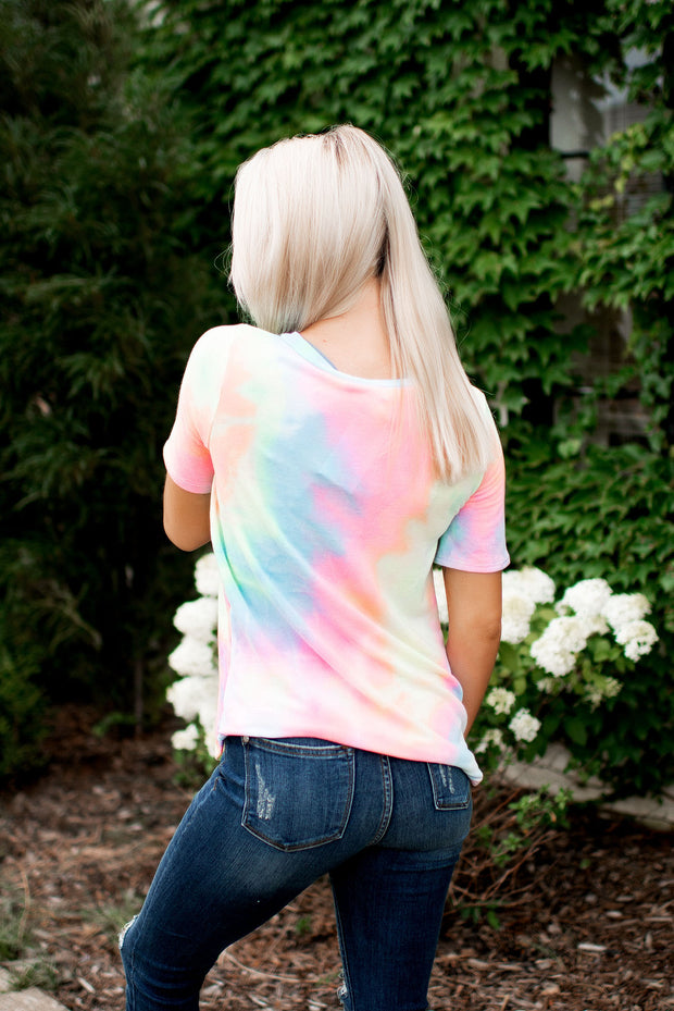 Sittin' Sideways Tie Dye Tee (Pastel)FINAL SALE