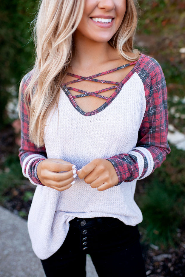 Criss Cross Waffle Top (Red Plaid)
