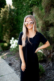 The Pocket Midi Dress (Black)