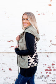 Aztec Sweater Military Vest (Olive)