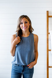 Must Have Ribbed Tank (Denim Blue)