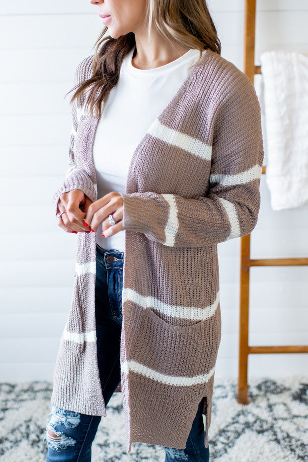 Love To Layer Striped Cardigan (Mocha) FINAL SALE