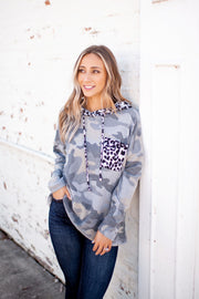 Brushed Camo/Leopard Hoodie (Grey)