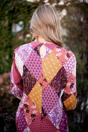 Patio Perfect Floral Patch Blouse (Berry)