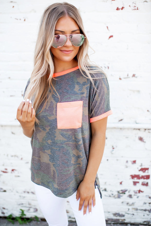 Neon Camo Pocket Top (Coral)
