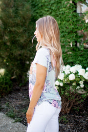 Fancy Floral Sequined Pocket Top (Sage)