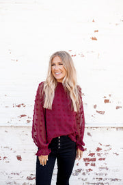 The Adaline Dotted Swiss Blouse (Wine)