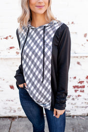 The Paige Hooded Top (Charcoal/Ivory Plaid)