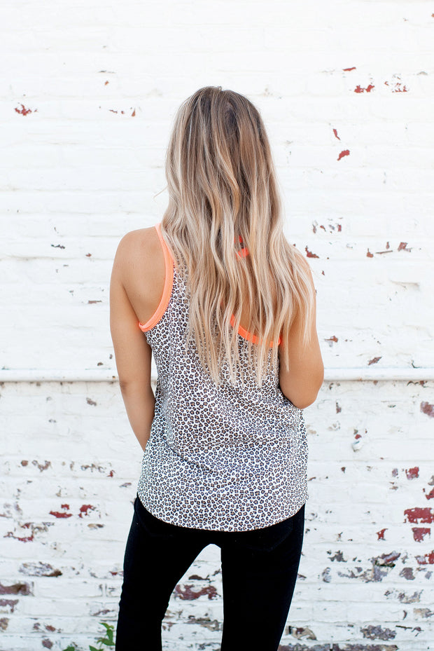 Running For It Cheetah Tank (Coral)