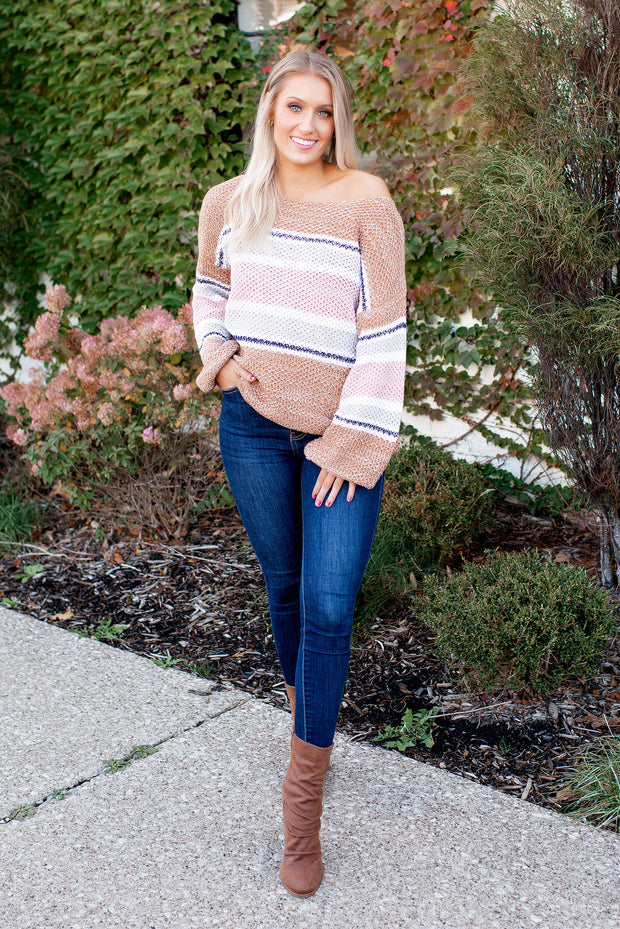 Golden Hour Striped Sweater (Mauve) FINAL SALE