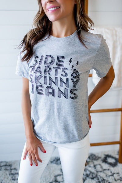 Side Parts & Skinny Jeans Tee (Grey)