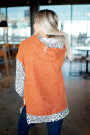 Animal Accent Double Hoodie (Rust) FINAL SALE
