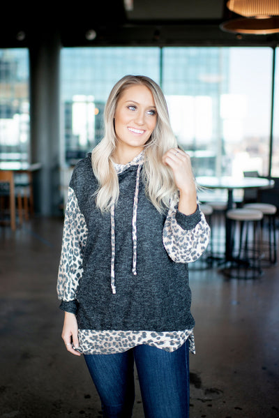 Animal Accent Double Hoodie (Charcoal)