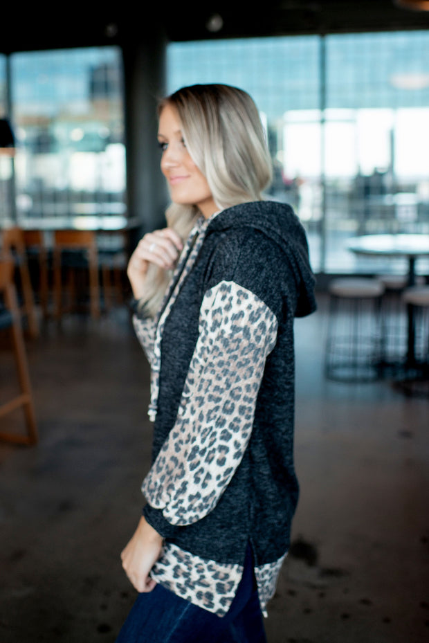 Animal Accent Double Hoodie (Charcoal) FINAL SALE