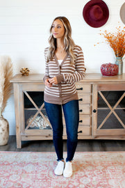 Snap On Striped Sweater (Mocha/Ivory) DOORBUSTER