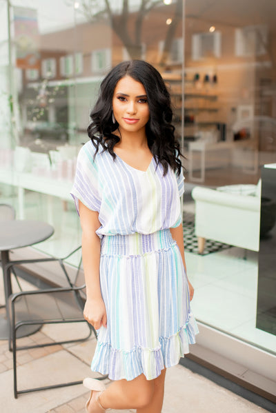 Uptown Girl Striped Dress (Blue)