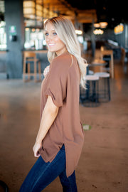 Beatrice V-Neck Tunic (Lt Brown) FINAL SALE