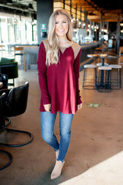 Ribbed Suede Top (Burgundy) FINAL SALE