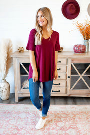 The Vicki V-Neck (Dark Burgundy) DOORBUSTER