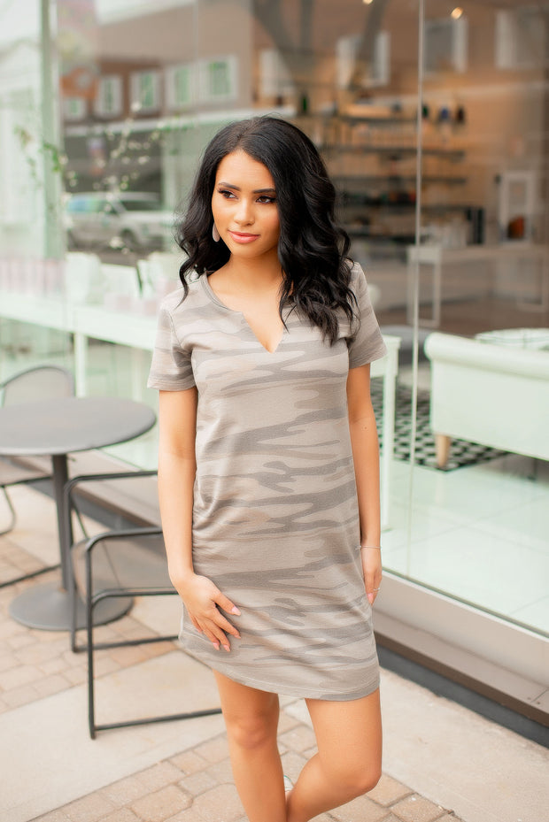 Z Supply Camo Slit Neck Dress (Light Sage)