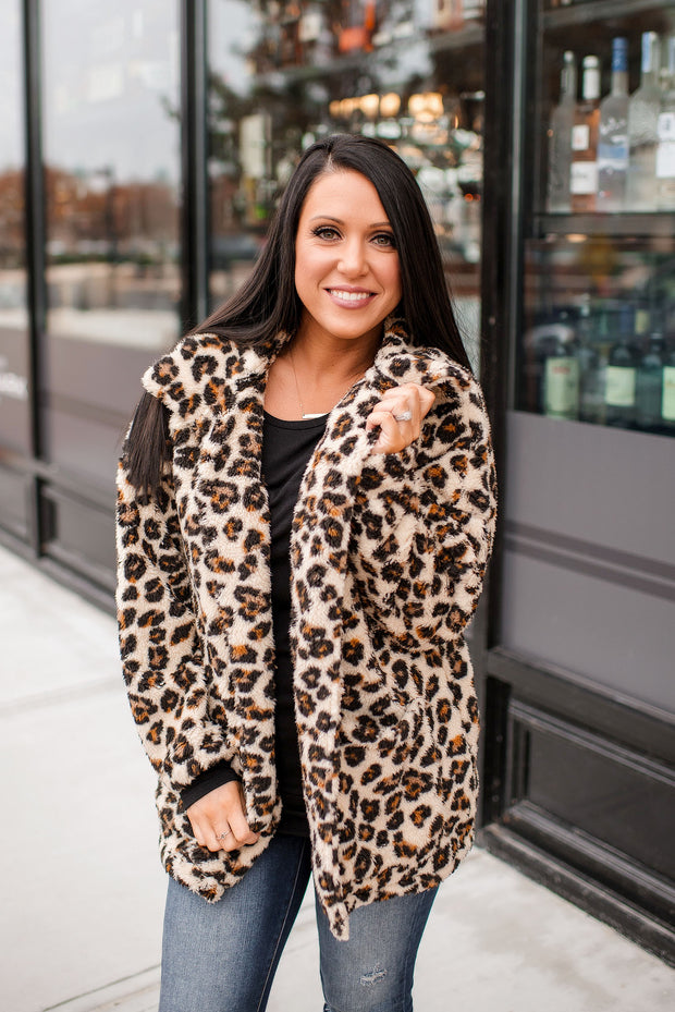 Z Supply Leopard Sherpa Teddy Bear Coat FINAL SALE