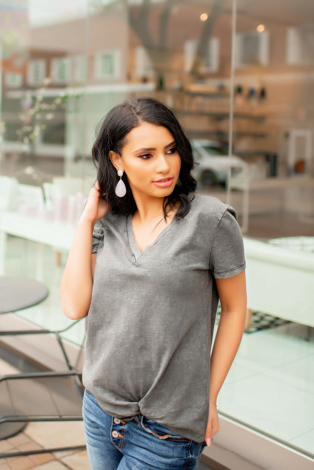 The Mila Mineral Wash Tee (Charcoal) FINAL SALE