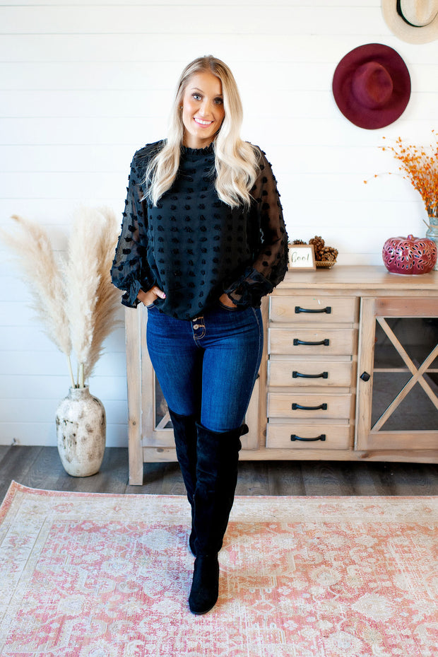 The Adaline Dotted Swiss Blouse (Black)