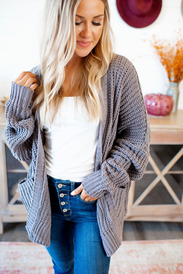 Couch Potato Knit Cardigan (Charcoal)