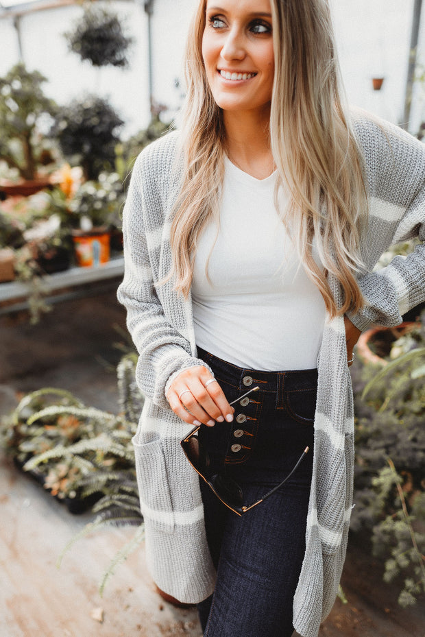 Love To Layer Striped Cardigan (Grey) FINAL SALE