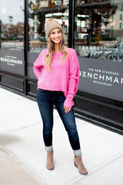 Slouchy Sweater (Hot Pink) FINAL SALE
