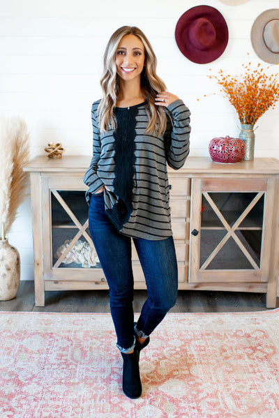 Down With The Lace Striped Top (Charcoal)