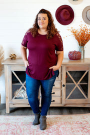 Lace Shoulder Tunic (Dark Burgundy) DOORBUSTER