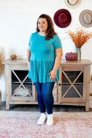 The Posie Peplum Tunic (Dusty Teal) FINAL SALE